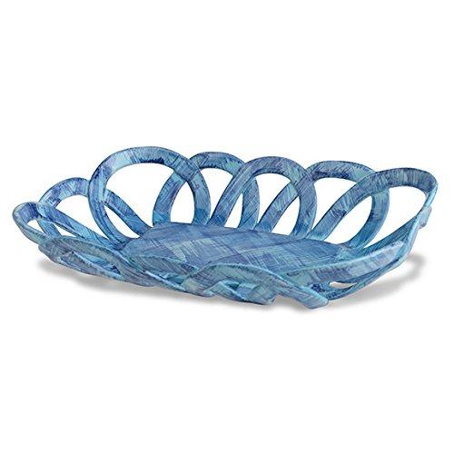 "Handmade Italian Blue Ceramic Basket (10"" x 7"" x 2"") | Intrecci Collection by Modigliani – Hand-Painted Ceramic Woven Home Décor Baskets | Perfect Italian Bon Bon Basket Jewelry Dish"