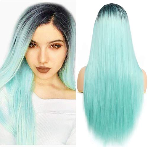 Baruisi Mint Green Ombre Long Straight Wig Side Parting Natural Looking Synthetic Fiber Cosplay Colorful Wig for Women Girls
