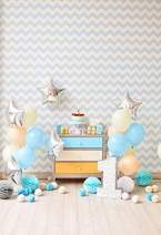 Baocicco 3x5ft One Year Old Backdrop 1st Baby Birthday Decorations Indoor Backdrop Photography Background White Blue Silver Balloons Birthday Cake Chevron Wallpaper One Year Old Child Party Photo Prop