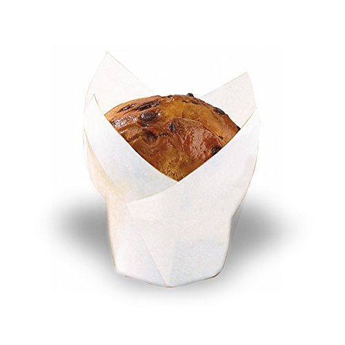 """Tulips White Silicone Baking Cup Liner (Case of 100), PacknWood - Parchment Paper Cupcake Liners (4 oz, 6.8"""" x 6.8"""" x 1.9"""") PK209CPST6B"""