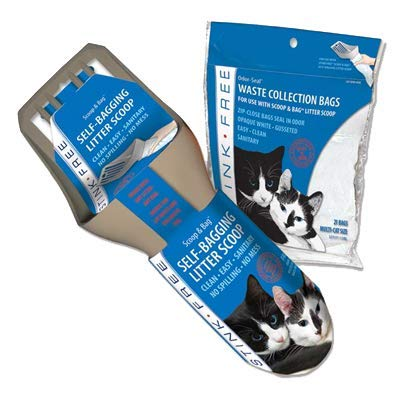 Stink Free Cat Scoop & Bag - Self-Bagging & Poop Scooping Kitty Litter Scoop (with 21 Free Samples of Odor Seal Cat Waste Litter Bags for Poop & Urine) Cleaning Supplies for Your Litter