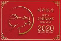 Baocicco 5x3ft Happy Chinese New Year Backdrop Welcome to Year of The Rat Chinese Style Red Background Cartoon Mouse Image for Photography New Year Eve Party Decoration Photo Booth Prop Studio