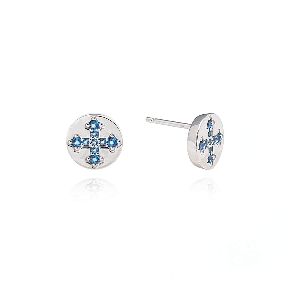 J.RAHEL 925 Sterling Silver Circle Jewelry with Blue CZ for Women