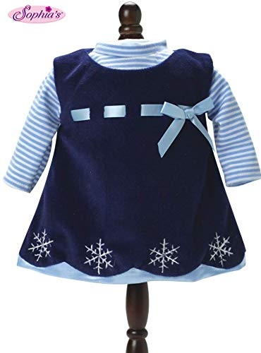 Sophia's 15 Inch Doll Clothing Outfit 2 Pc. Set of Navy Snowflake Dress & Blue Striped Shirt Fits 15 Inch American Bitty Baby Girl Dolls & More! Baby Doll Clothes Navy Dress, Shirt & Gift Bag