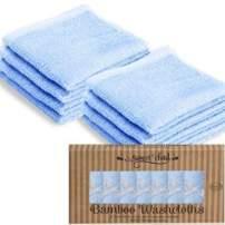 "SWEET CHILD 100% Organic Bamboo Baby Washcloths(Bonus 8-Pack) (10""x10"", Blue (1))"