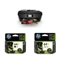 HP ENVY Photo 7855 All in One Photo Printer with Wireless Printing, Instant Ink ready (K7R96A) with XL High Yield Ink Cartridges Bundle