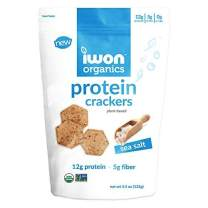 iwon organics Sea Salt Flavor Snack Crackers, High Protein and Organic, 8 Bags, 4.5 Ounce