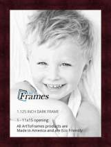 ArtToFrames 11x15 inch Dark Cherry Stain on Hard Maple Wood Picture Frame, 2WOM0066-71206-YCHY-11x15