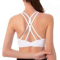 Cordaw Strappy Sports Bra Yoga Bra Tops Crisscross Open Back Padded Medium Support Workout for Women, White X-Large