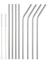 """Lepilion Stainless Steel Drinking Straws 8   4 Straight 4 Bent 2 Cleaning Brushes   10.5"""" Extra Long   Beverage Juice Milk Soda Water   Fits 20 & 30 OZ Yeti Ozark Trail SIC & RTIC Tumblers   Reusable"""