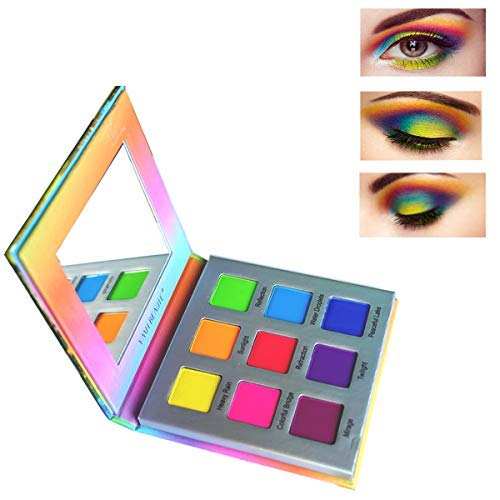 Highly Pigmented Eyeshadow Palette,YMH BEAUTE 9 Colors Bright Eye Makeup Palette Matte Eye Shadow Palettes Long Lasting Waterproof Colorful Cruelty-free Vegan Cosmetics, Rainbow