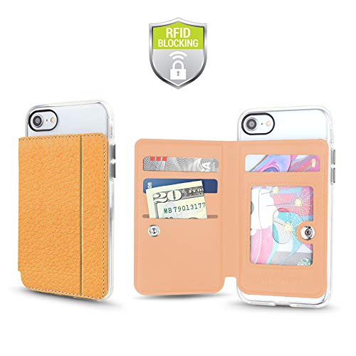 Cell Phone Wallet for Back of Phone, Stick On Wallet Credit Card ID Holder with RFID Protection Compatible with iPhone, Galaxy & Most Smartphones and Cases