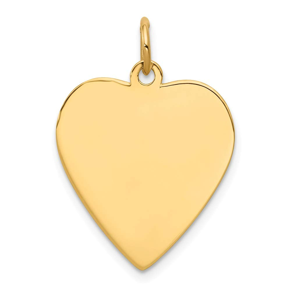 14k Yellow Gold .035 Gauge Engravable Heart Disc Pendant Charm Necklace Simple Shaped Plain Fine Jewelry For Women Gifts For Her