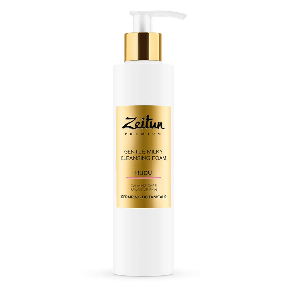 Zeitun Foam Cleanser - Hudu - Gentle Milk Cleanser For Face - Calming & Soothing Care For Sensitive Skin With Repairing Botanicals 6.8 oz