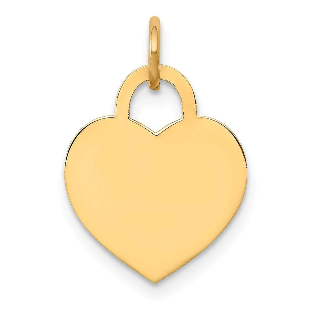14k Yellow Gold Small Engravable Heart Pendant Charm Necklace Disc Designer Shaped Fine Jewelry For Women Gifts For Her