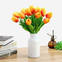 MACTING 22 Pcs Artificial Tulips Flowers Real Touch Fake Holland PU Orange Tulip Bouquet Latex Flowers Stems for Outdoors Decoration Crafts Garden Bridal Wreath Wedding Home Party Decor (Orange)