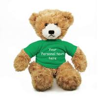 Plushland Beige Brandon Teddy Bear 12 Inch, Stuffed Animal Personalized Gift - Custom Text on Shirt- Great Present for Mothers Day, Valentine Day, Graduation Day, Birthday (Kelly Green Shirt)