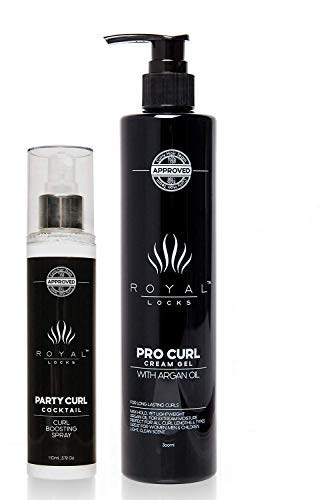 Royal Locks Pro Curl Cream Gel 10 Oz and Party Curl Cocktail Spray 3.72 Oz set | Frizz Reduction and Revitalizing Boost for Wavy and Curly Hair | with Argan Oil and UV Protectant | Pack of 2