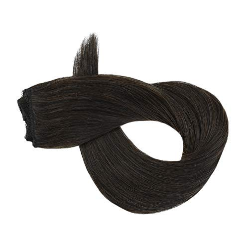 Flip on Hair Extensions for Women Real Human Hair 50 Grams Brazilian Halo Human Hair Extensions Halo Flip in Hair with Fish Wire 14 Inch #2 Darkest Brown