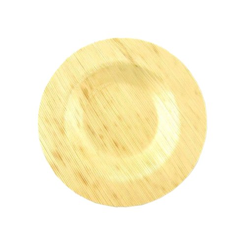 "BambooMN 3.5"" Premium Bamboo Leaf Round Dinner Plates, All Natural Disposable Compostable for Catering and Home Use, 300 Pieces"