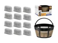 GoldTone Brand 8-12 Cup Basket Coffee Filter & Set of 12 Charcoal Water Filters fits Cuisinart Coffee Makers and Brewers. Replaces your Cuisinart Reusable Coffee Filter & Cuisinart Water Filter