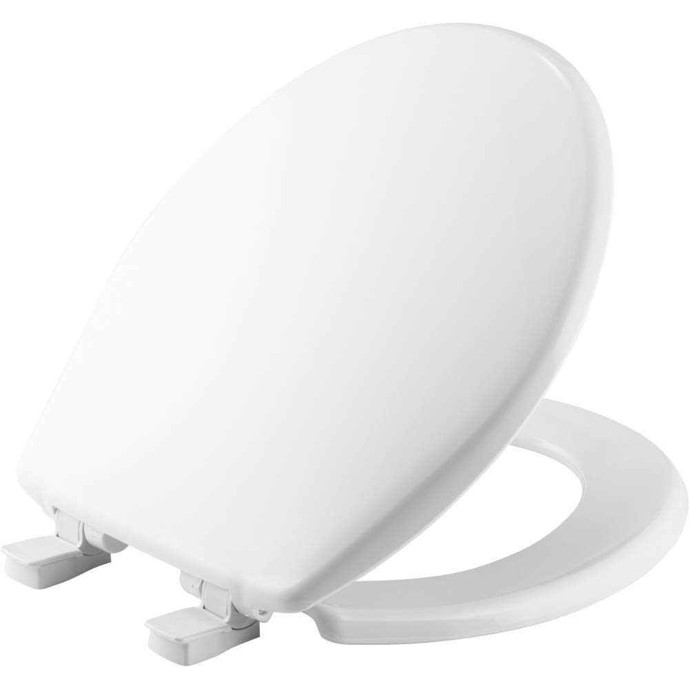 BEMIS 730SLEC 000 Toilet Seat will Slow Close and Removes Easy for Cleaning, ROUND, Plastic, White
