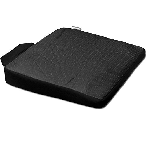 YupbizAuto New Breathable Comfortable Ergonomic Wedge Car Seat Office Chair Back Support Cushion (Black Syn Leather)
