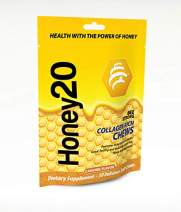 BeeStrong Collagen Rich - Joint and Bone Health Caramel Chews Made With Real Honey (30 per pouch)