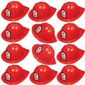 Adorox 12 Pcs Firefighter Chief Soft Plastic Hat Party Favor