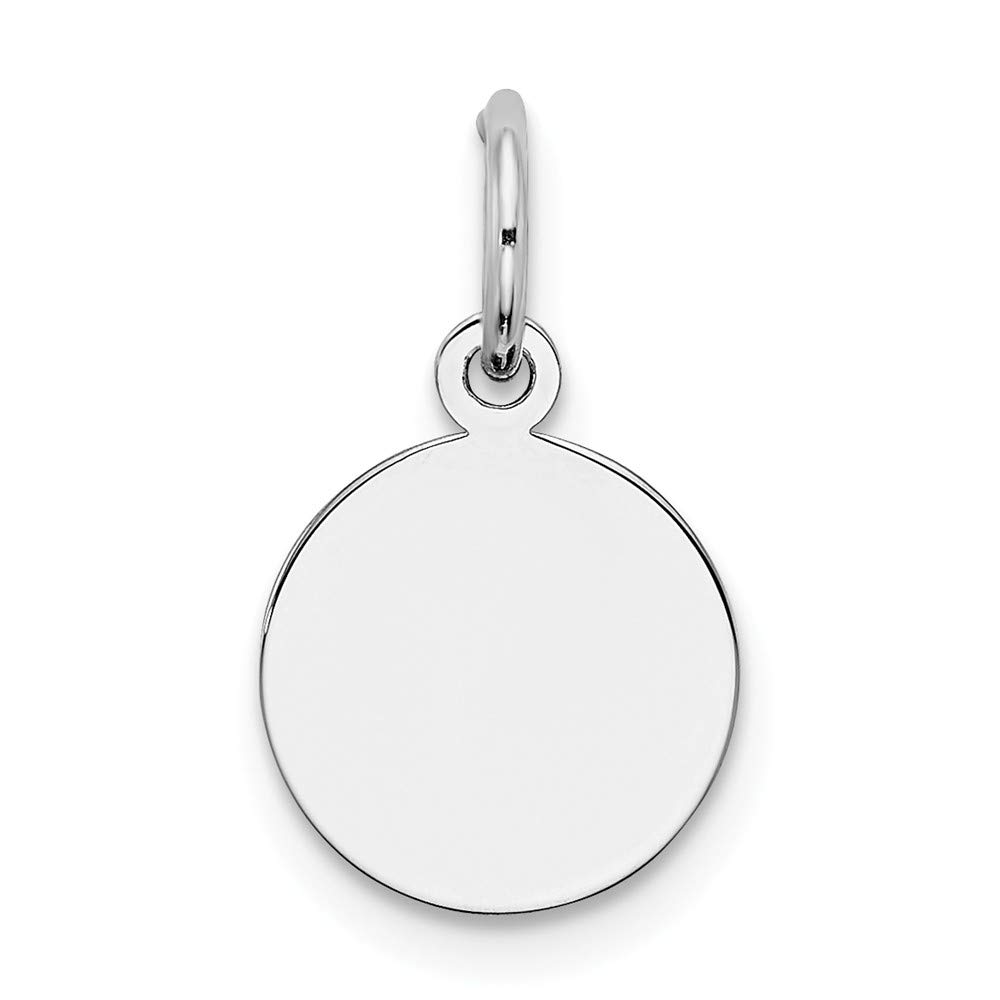 925 Sterling Silver Rh Plt Engraveable Round Front Back Disc Pendant Charm Necklace Engravable Plain Fine Mothers Day Jewelry For Women Gifts For Her