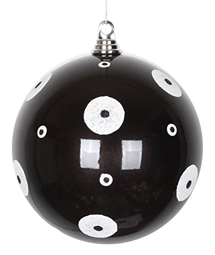 Vickerman Candy Black with White Glitter Polka Dots Commercial Size Christmas Ball Ornament, 8""