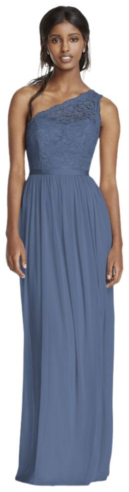 Long One Shoulder Lace Bridesmaid Dress Style F17063, Steel Blue, 4