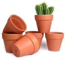 T4U 5 Inch Terracotta Clay Pots Pack of 6 - Mini Hand Craft Nursery Plant Pot Succulent Cactus DIY Pottery Planter Home Garden Windowsill Decoration Christmas Gift