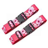 Teeoff Luggage Straps Suitcase Belts Travel Bag Accessories Adjustable 220CM (Sakura - 2 Pack)