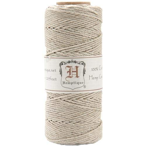 Hemptique 100% Hemp Cord Spool - 62.5 Meter Hemp String - Made with Love - No. 20 ~ 1mm Cord Thread for Jewelry Making, Macrame, Scrapbooking, DIY, & More - Natural