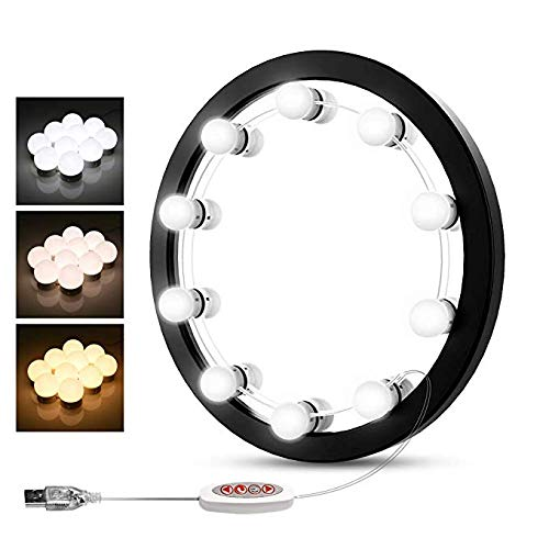BEAUTME Hollywood LED Vanity Mirror Lights Kit with Dimmable Light Bulbs,Beauty Lighting Fixture Strip for Makeup Vanity Table Set in Dressing Room, Mirror Not Included(10 Bulbs kit) …