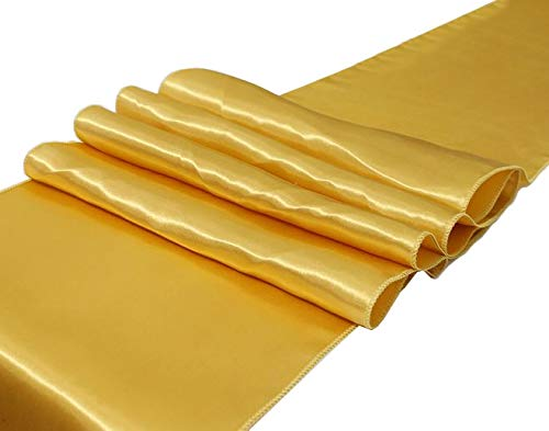 Pack of 10 Satin Table Runners 12 x 108 inches Long Gold Table Runner for Wedding Reception Banquet Events Baby Shower New Year Party Decoration, Bright Silk and Smooth Fabric Party Table Runner-Gold