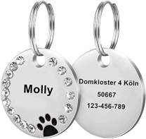 sny76e4tg Custom Pet ID Tags, Round Crystal Tags with Pretty Glitter Bling Paw Print, Double-Side Laser Engraving Tags Fit Small Medium Large Dogs and Kittens