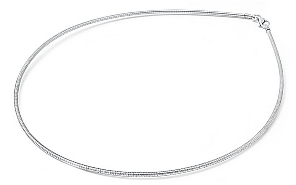Sterling Silver Round Omega Snake Chain 3mm Solid 925 Italy New Necklace