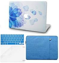 """KECC Laptop Case for MacBook Air 13"""" Retina (2020/2019/2018, Touch ID) w/Keyboard Cover + Sleeve + Screen Protector (4 in 1 Bundle) Plastic Hard Shell Case A2179/A1932 (Blue Flower)"""