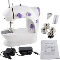 Mini Sewing Machine, Portable Electric Crafting Mending Machine 2-Speed Double Thread with Foot Pedal for Household Travel Beginner