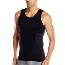TUOY Padded Compression Shorts, Padded Vest Rib Hip and Thigh Protector for Football Paintball Basketball Ice Skating Rugby Soccer Hockey and All Other Contact Sports