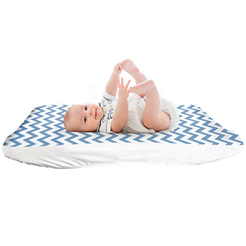 Lessy Messy Diaper Changing Pad Covers, The Only Changing Pad Covers That are Leak-Proof and Washer/Dryer Safe, Elastic Edges Make for Snug Fit Around Changing Pad (Blue)