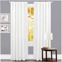 Linen Clubs Set of 2,100% Slub Cotton Duck Curtain White,Cotton Duck Reverse Tab Top Window Panels-50x108 inch,Machine Washable for Easy Care