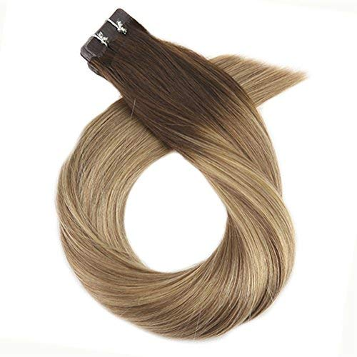 16 Inch Remy Hair Extensions Tape in Human Hair 40PCS 100G Full Head Tape in Hair Extensions #3 Brown Fading to #8 Light Brown and #22 Blonde Color Skin Weft Remy Human Hair
