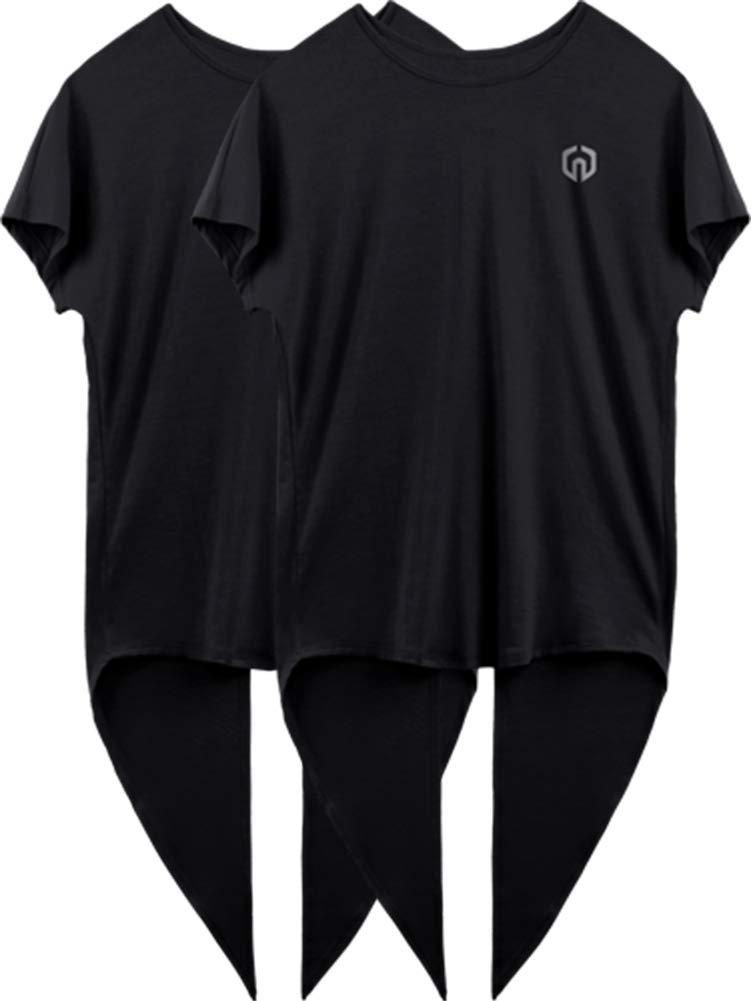 Neleus Women's Quick Dry Athletic Workout Shirt Yoga Top