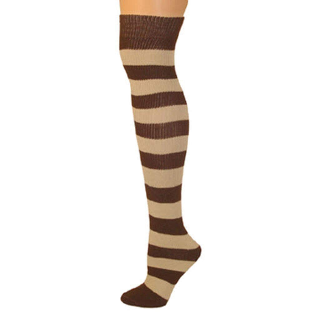 AJs Adult Long Classic Knee High Striped Socks, Sock size 11-13, Shoe Size 5 and up, Made in USA