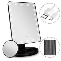 UHIBROS Lighted Makeup Mirror Touch Sensor Led Light Diming Detachable Cosmetic Mirror 10X Magnification Organizer Base Battery/USB Chargeable (Large)