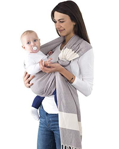 Fringe Home 100% Cotton Baby Ring Sling Carrier, Best for Breastfeeding, Nursing, Newborn, Infant, Toddler Carrier, Baby Shower (Light Gray)