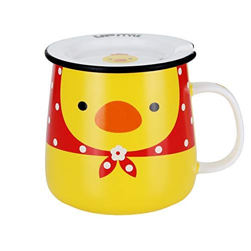UPSTYLE Novelty Ceramic Coffee Mug Cute Funny Cartoon Animals Tumbler the Office Travel Tea Cup To Go with Lid and Spoon for Men and Wonmen (11oz/320ml Chicken)